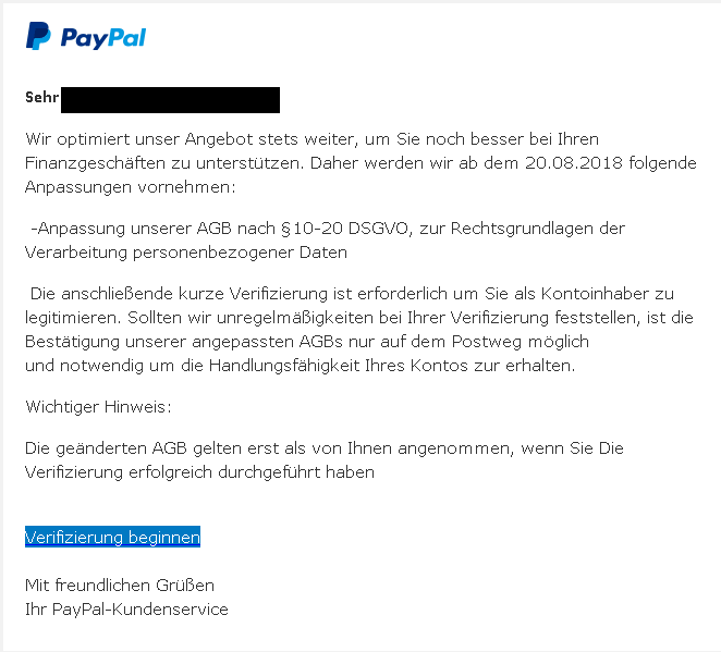 PayPal Anpassung unserer AGB nach 10-20 DSGVO